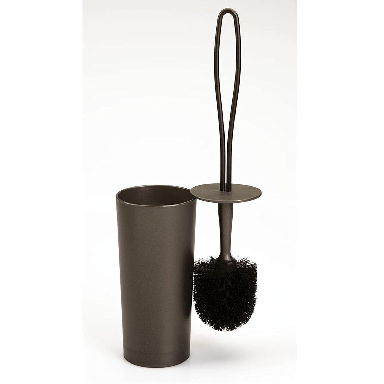 InterDesign Loop Toilet Bowl Brush and Holder - Bathroom Cleaning Storage, Bronze 98920