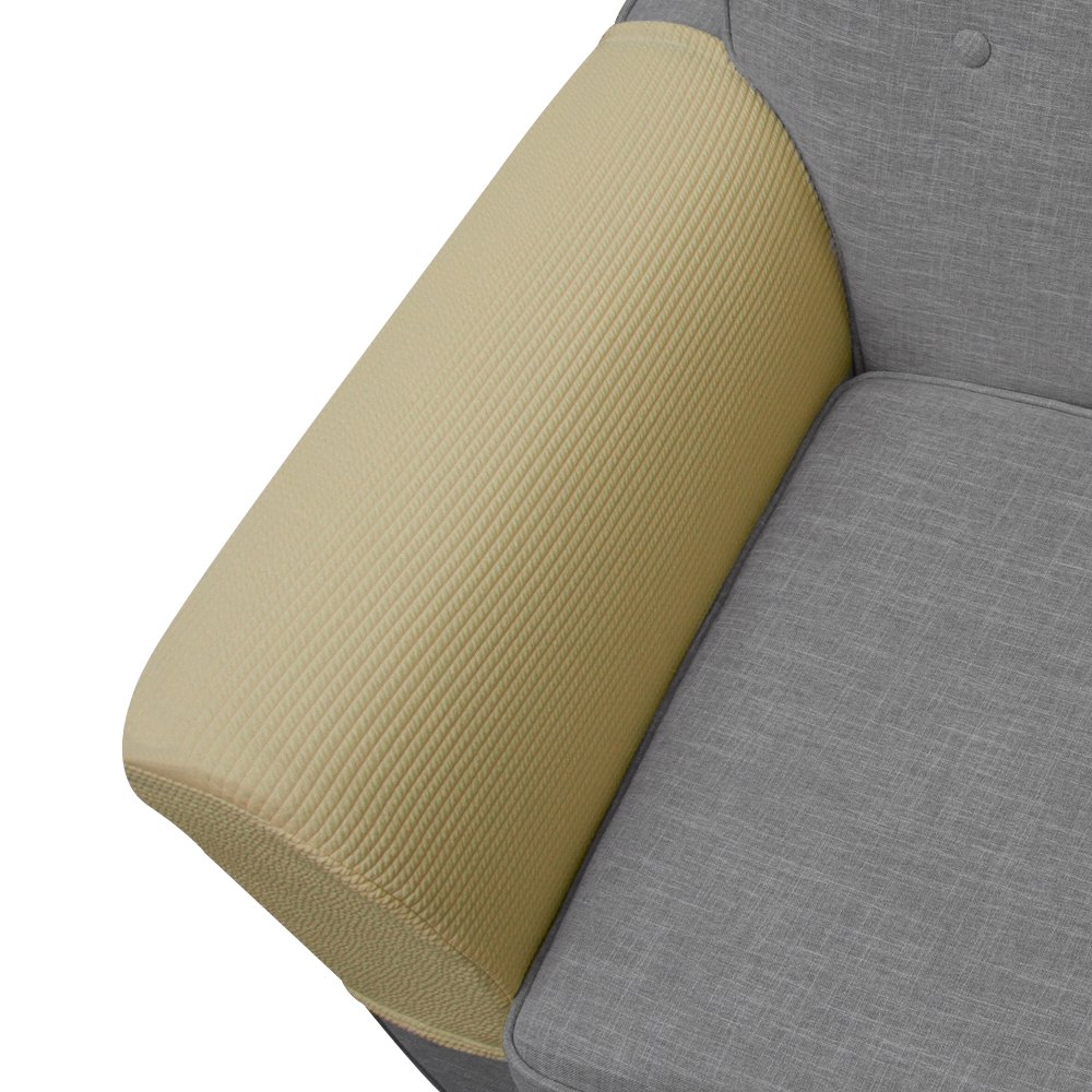 newmeil Upgrade Anti Slip Stretch Spandex Armrest Cover, for Fabric and Leather Recliner Chair Couch Sofa,Set of 2 Beige (Loveseat)