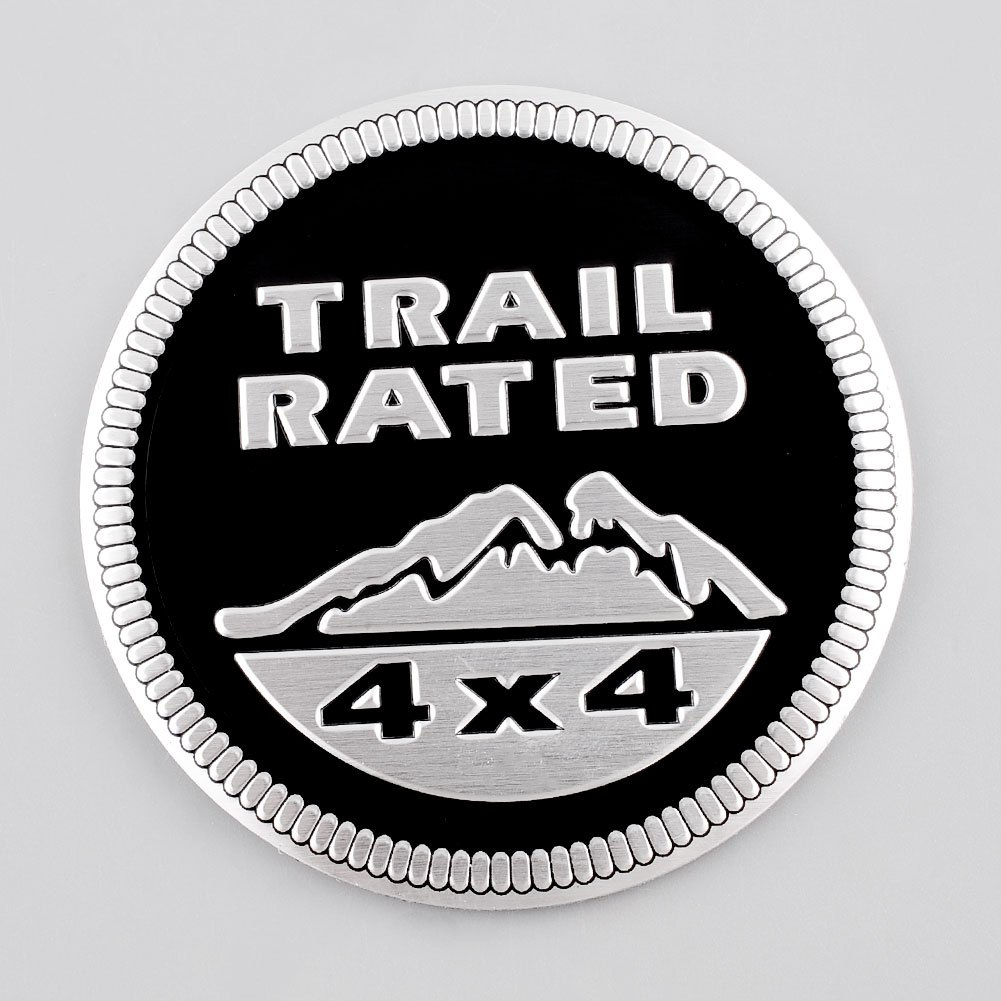 Jeep Trail Rated 4X4 Nameplate Emblem Wrangler Grand Cherokee Liberty 1Set(2Pcs) (Black) GOOACC ts009