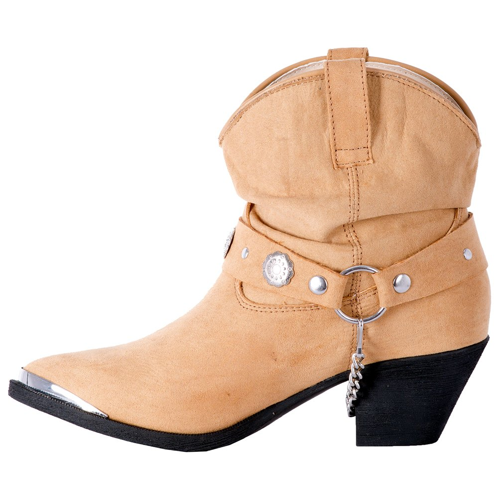 Dingo Women's Leather Concho Strap Slouch Ankle Boot B078H8RD5G Pointed Toe - Di8940 B078H8RD5G Boot 8 B(M) US|Tan f514ff