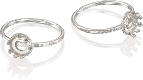 jewelry making 6 setting 12x12 mm 925 sterling silver blank ring with cushion bezel cup size 5 8 7 1 piece base ring bezel cup
