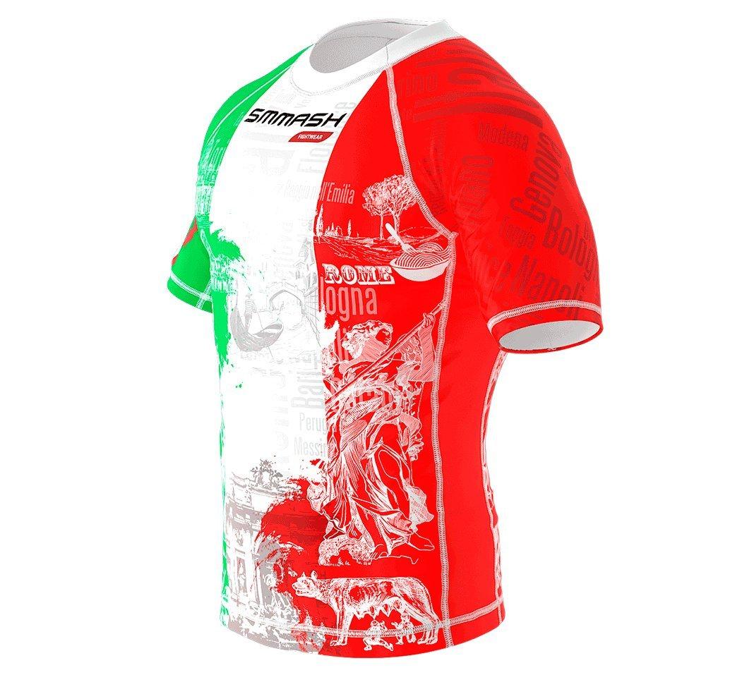 Italy Morn SMMASH Rashguard Italy Manica Corta MMA BJJ UFC Sport di Combattimento
