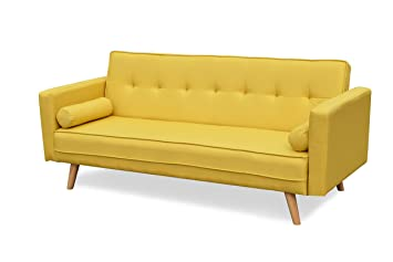 premium selection bd052 47c48 Cherry Tree Furniture NORA 3-Seater Fabric Sofa Bed Sleeper Sofa with  Cushions (Yellow)