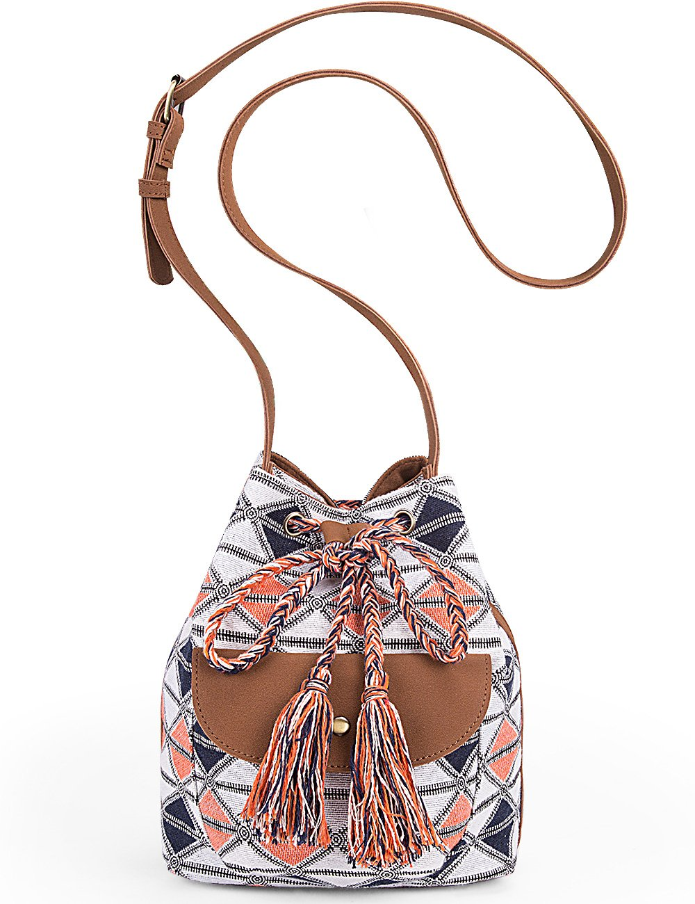 Lily Queen Drawstring Bucket Bag Small Crossbody Purse Canvas and PU (White Grid)