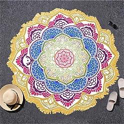 Beddingoutlet Tassel Indian Toalla Mandala Tapestry Beach Towel Sunblock Round Bikini Cover-Up Blanket Lotus