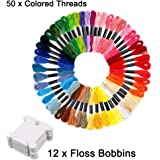 EVERMARKET Embroidery Floss 50 Skeins Friendship Bracelets Floss Rainbow Assorted Colors Embroidery Thread Cross Stitch Crafts Floss with 12 Pcs Floss Bobbins