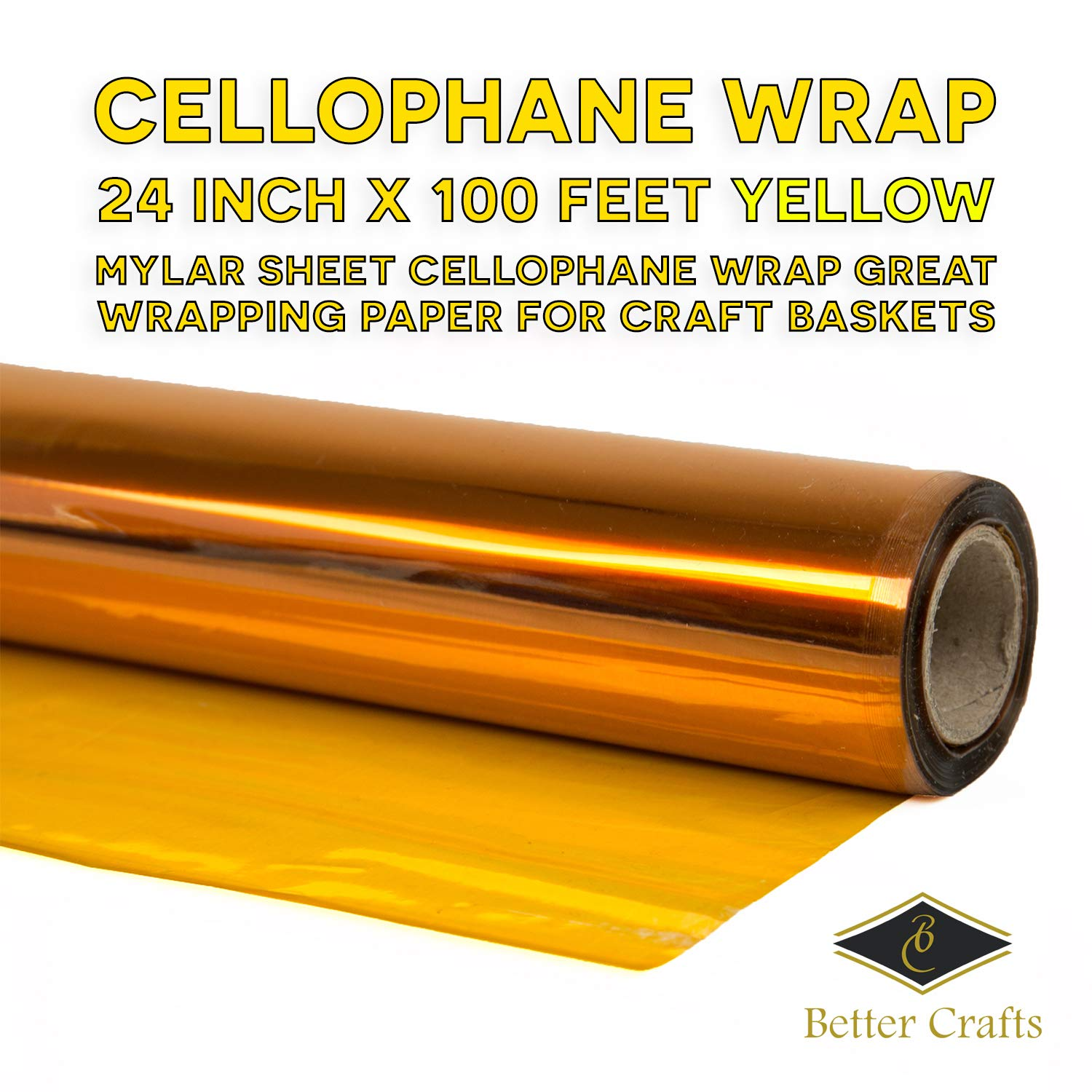 Cellophane Wrap 24 Inch X 100 Ft Yellow Mylar Sheet Cellophane Roll Great Wrapping Paper For
