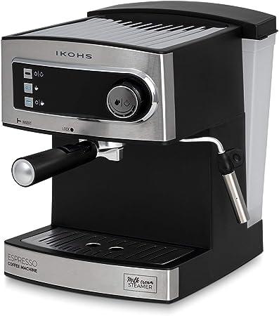 IKOHS CÖHF Espresso - Cafetera Express para Espresso y Capuccino, depósito 1,6 litros, 850 W, 20 Bares, Vaporizador Orientable, Digital, Bandeja antigoteo, café molido o monodosis, Acero Inoxidable: Amazon.es: Hogar