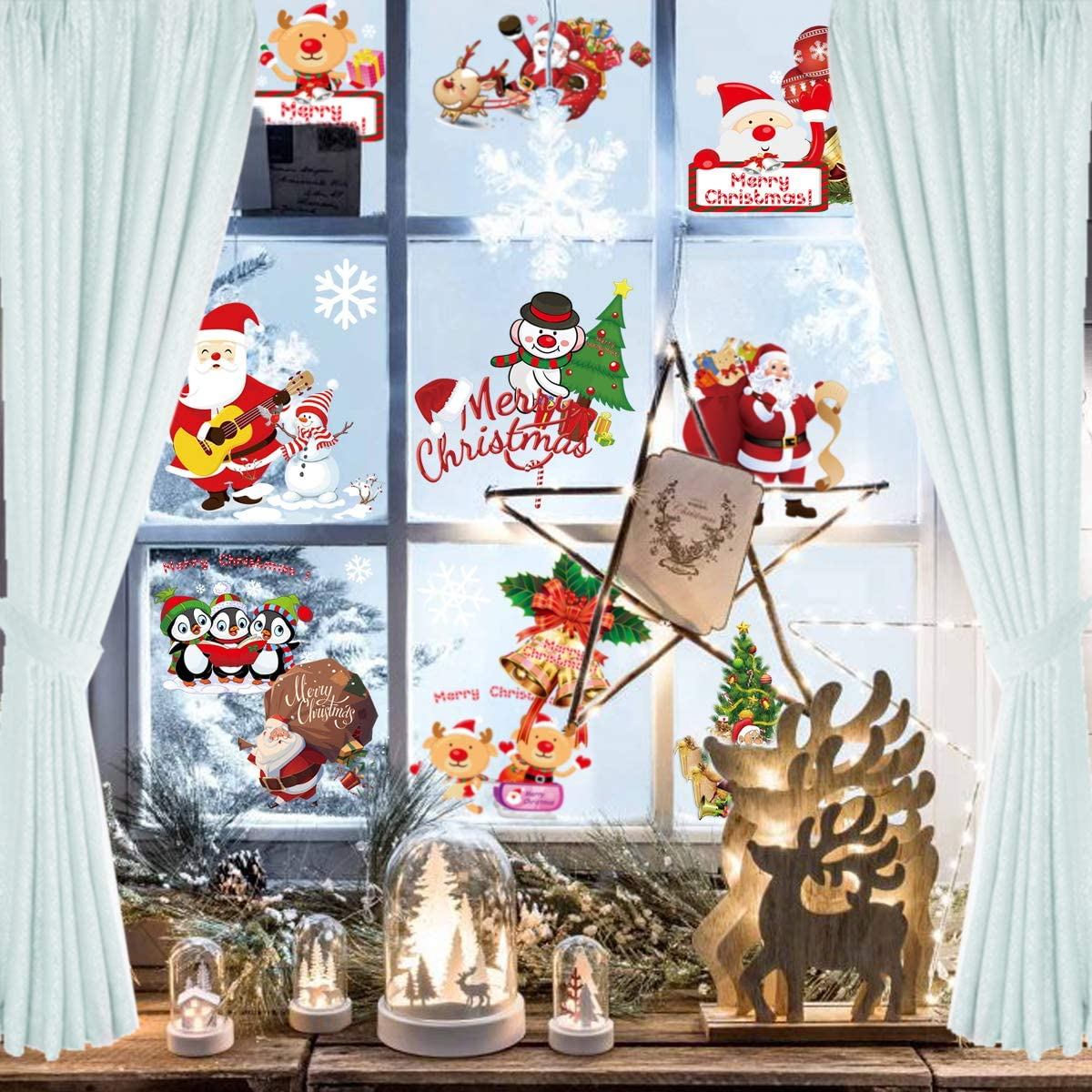 Ksndurn Christmas Window Clings, Window Decorations - Santa Window Clings/Reindeer Snowman Xmas Decals for Christmas, Party, Decoration.