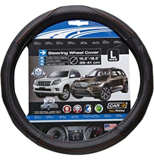 Super Fiber L steering wheel cover, black with Wood grain accent, fits all 15.35