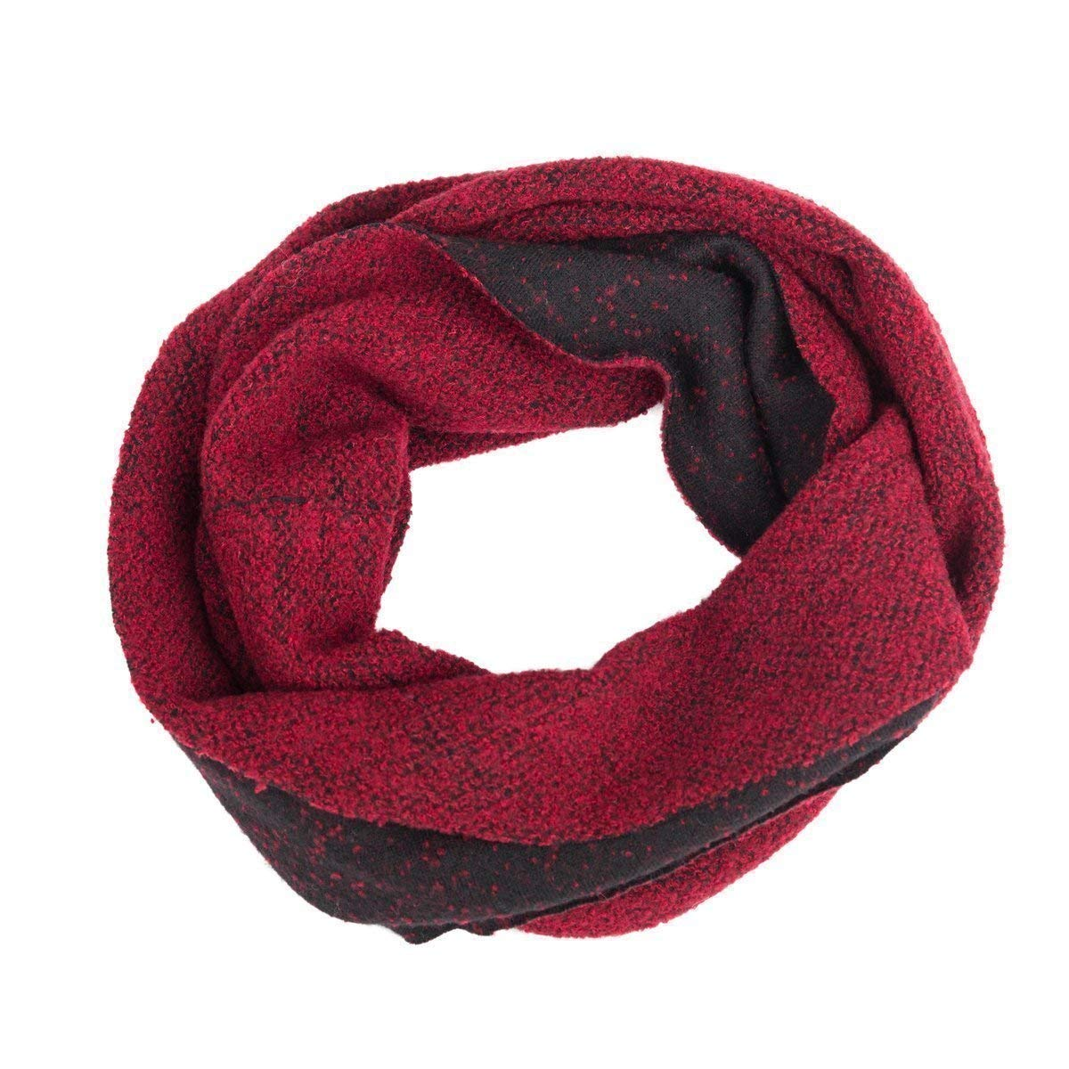 Soft Scarf, Circle Scarf, Head Scarf, Infinity Scarf, Loop, Snood, Hood, Neck, Reversible, Women, Men, Girl, Guys, Unisex, Wool, Red, Black, Charcoal, One size, Italian Style, Handmade in Florence, Italy