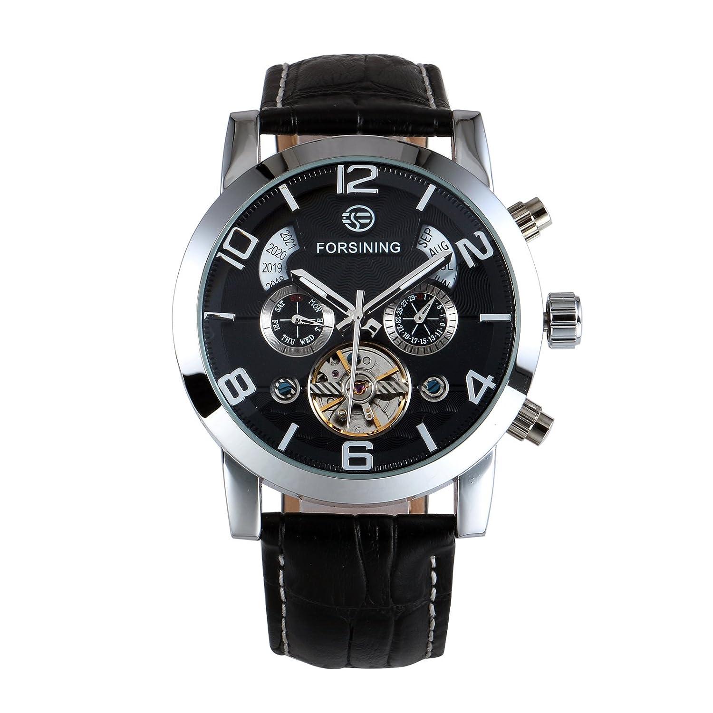 Black Leather Watch - Reloj automático Deportivo para Hombre, Caja ...