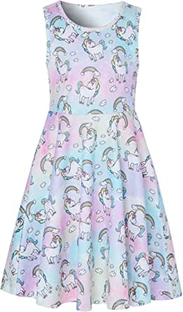 Girl's Unicorn Dresses Floral Rainbow A-line Skirt Vintage for Wedding Party Summer Casual Dresses Softy for Girls Cocktail Picnic Dresses White M Size (6-7T)