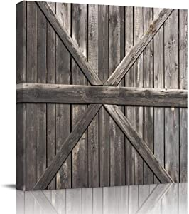 SUN-Shine Farm House Retro Grey Wooden Barn Door Canvas Wall Art Oil Painting Prints Stretched and Framed, Rustic Decor Wall Artworks Picture for Bathroom Kitchen Bedroom Decor, 28x28in