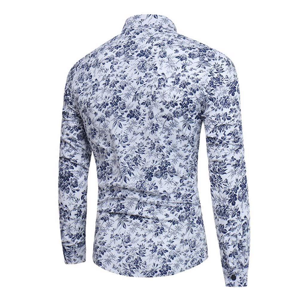 Coersd Men Shirt Casual Slim Fit Top Blouse