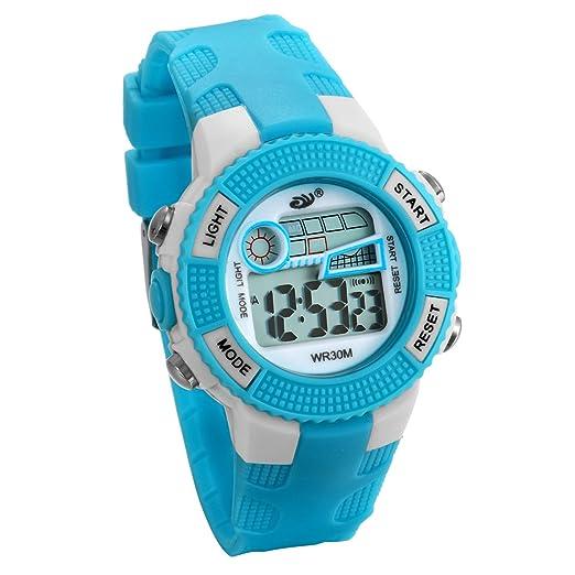 JewelryWe Relojes para Niños Niñas Reloj Deportivo Digital Para Aire Libre Reloj Infantil Azul, 3ATM A Prueba de Agua Dibujos Animados: Amazon.es: Relojes