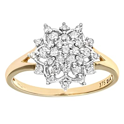 Naava 9ct Yellow Gold La s Diamond Ring Amazon Jewellery