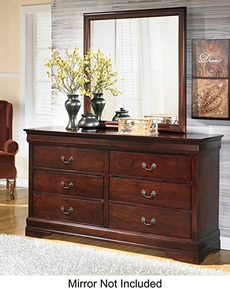 Alisdair B376-31 58 6-Drawer Dresser with Louis Philippe-Style Molding Antique Bronze Color Hardware and Made with Subtle Curves in Dark Brown