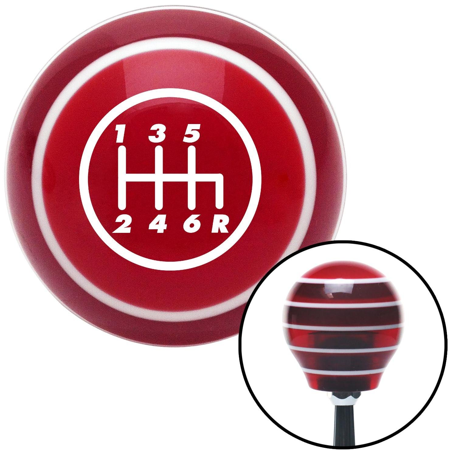 American Shifter 117409 Red Stripe Shift Knob with M16 x 1.5 Insert White 6 Speed Shift Pattern - 6RDR