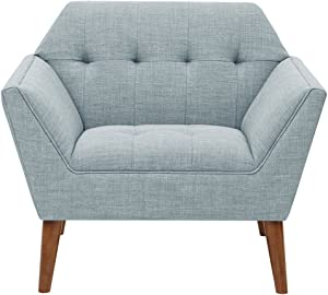 INK+IVY Newport Accent Armchair-Solid Wood Frame, Flare Arm Family Chairs Modern Mid-Century Style Living Room Sofa Furniture, Light Blue