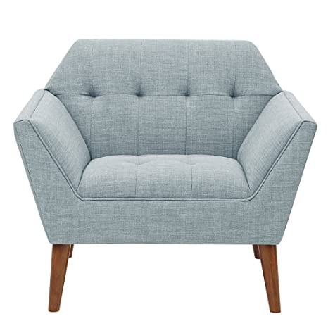INK+IVY II100-0382 Newport Accent Armchair-Solid Wood Frame, Flare Arm Family Chairs Modern Mid-Century Style Living Room Sofa Furniture, Light Blue