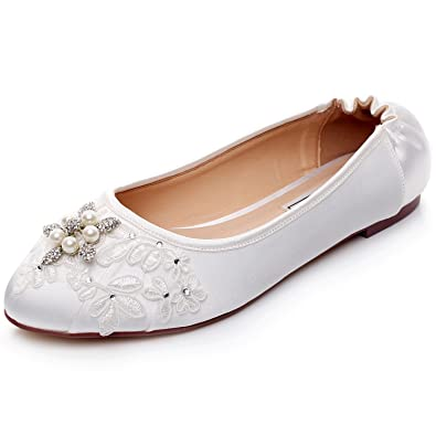 Amazon luxveer white satin and lace flat shoes wedding flats luxveer ivory bridal shoes flats elasticrs 9802 eu35closed toe bridal junglespirit Image collections