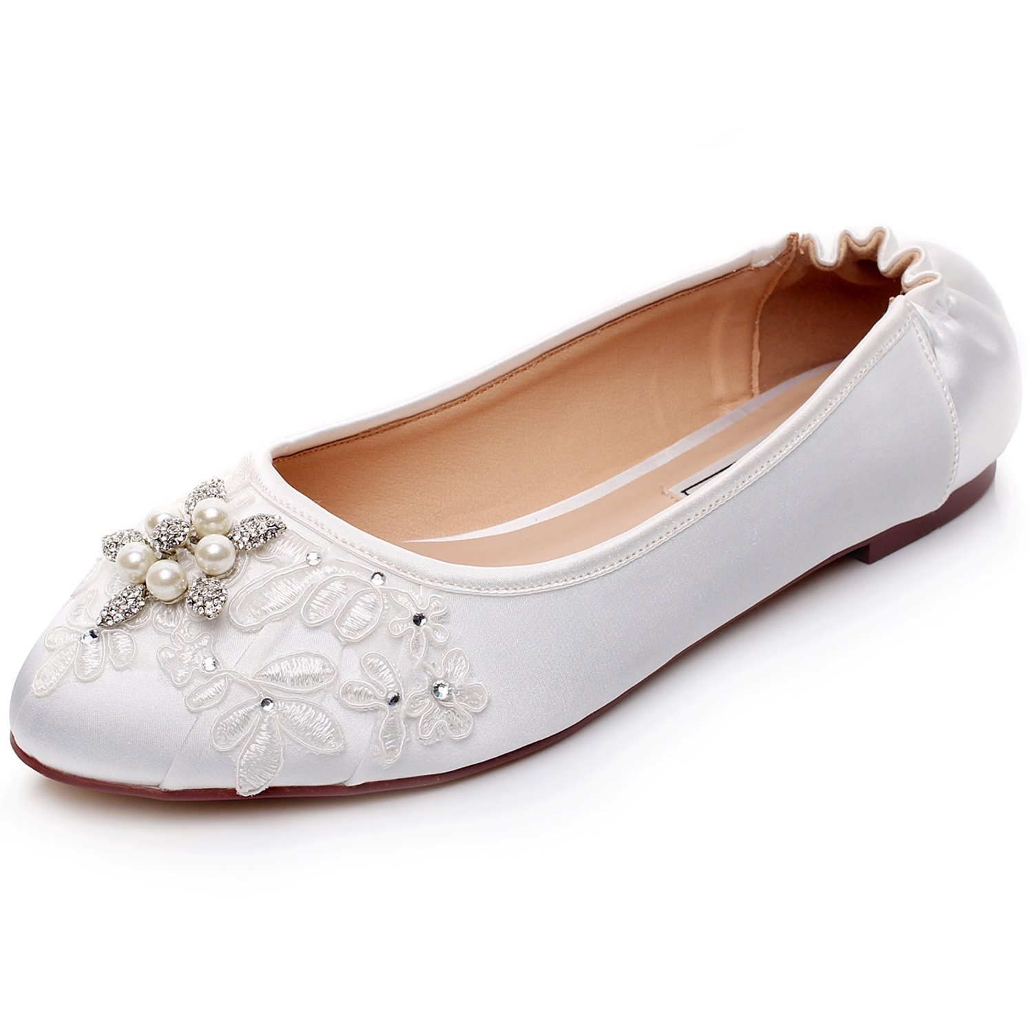 LUXVEER White Satin and Lace Flat Shoes Wedding Flats Closed Toe Elastic Flats with Rhinestone Crystals,RS-9802-Closed-Toe B01M4KAF45 5 B(M) US|White