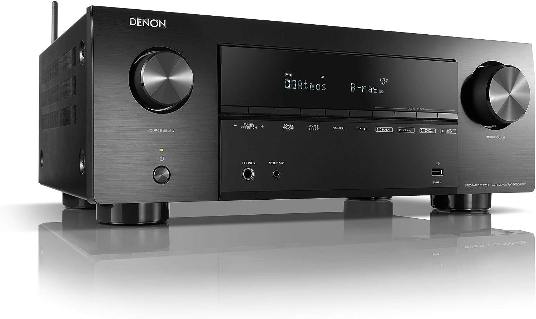 Denon AVR-X2700H Receptor AV de 7.2 canales, amplificador de alta fidelidad, compatible con Alexa, 6 entradas HDMI y 2 salidas, video 8K, Bluetooth, WLAN, Dolby Atmos, AirPlay 2, HEOS Multiroom