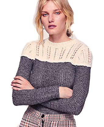 Free People Snowflake Swit Top With Crochet Knit Design Grey L