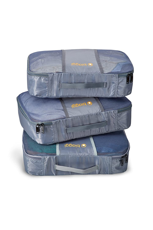 Zipcubes - 3 Packing Cubes + Laundry/Shoe Bag, Packing Organizers Grey Shoe Bag Grey/L Biaggi luggage 631105-31