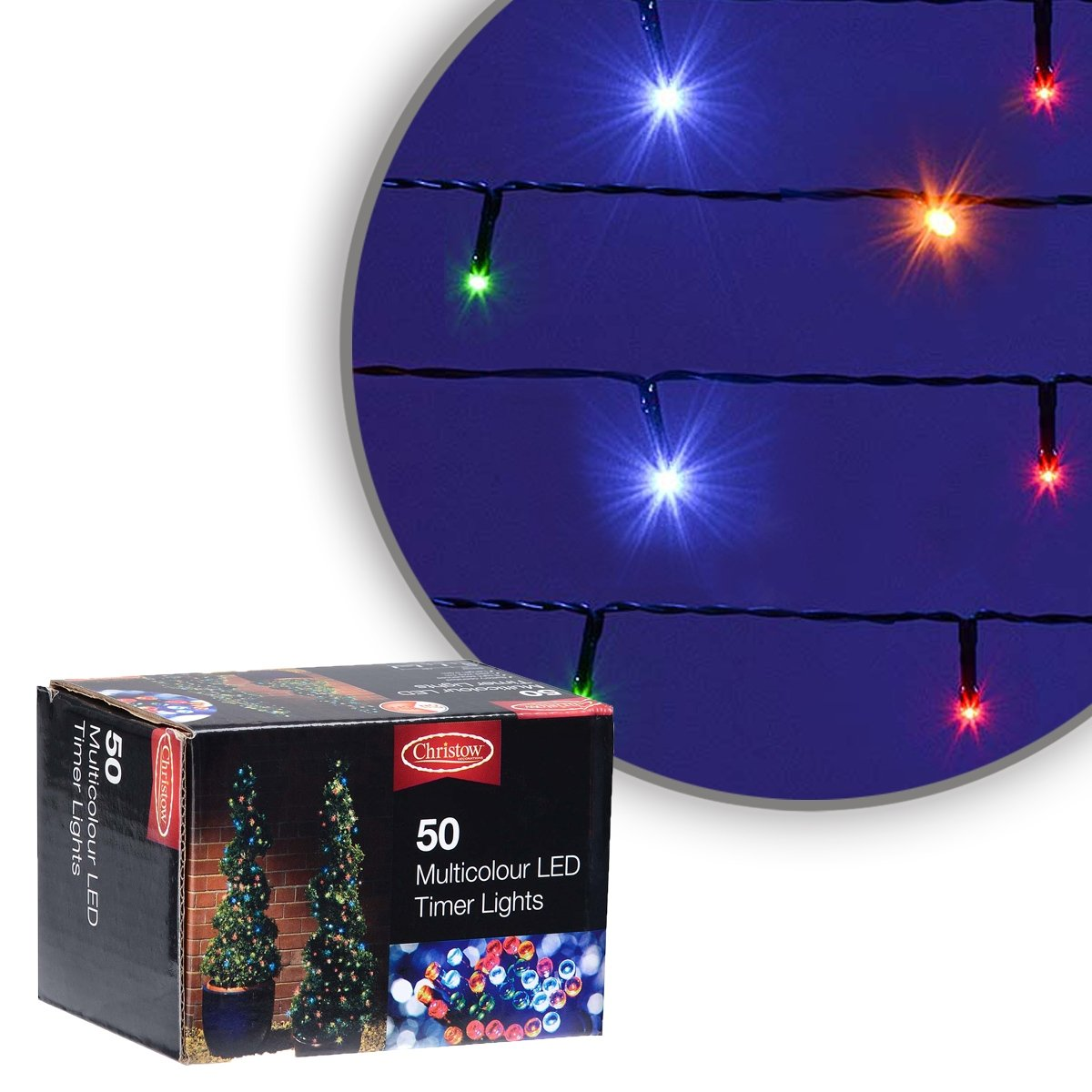 Christow Multi Coloured Led Battery Operated Christmas String Timer Colour Xmas Lights Kitchen Home