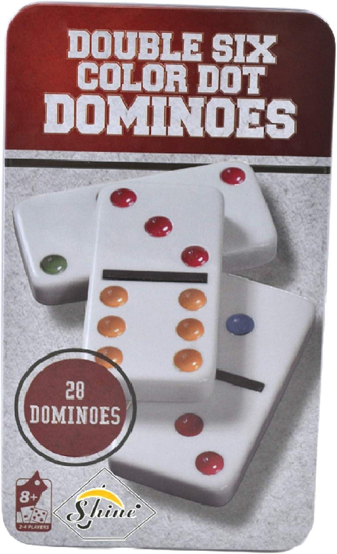 Shine Double SIX 6 PLASTIC Colour Dot Dominoes In A Tin: Amazon.es: Hogar