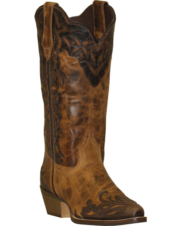 Abilene Women's Rawhide by Boot Two-Tone Wingtip Cowgirl Snip Toe - 5026 B0156I3KDO 8.5 B(M) US|Tan