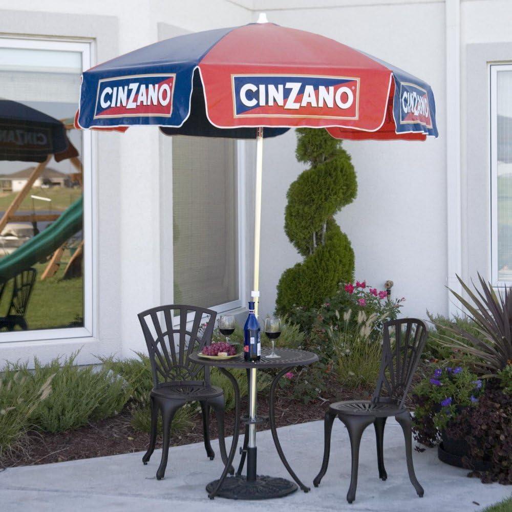 Heininger 1380 Cinzano Red and Blue 6 Bar Height Pole Vinyl Umbrella