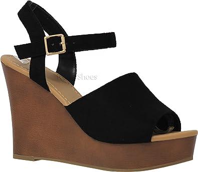 Amazon.com | MVE Shoes Women's Ankle Buckle Espadrille Platform Sandals |  Platforms & Wedges