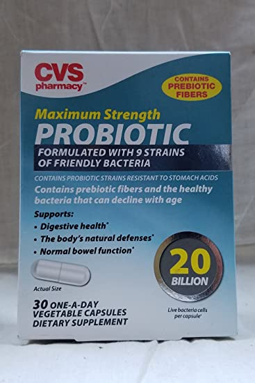 CVS Maximum Strength PROBIOTIC Tablets 20 Billion, 30 One-A-Day Vegetable  Capsules