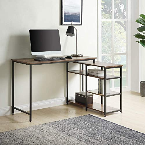 Zebery Home Office L-Shaped Computer Desk,Left or Right Set Up