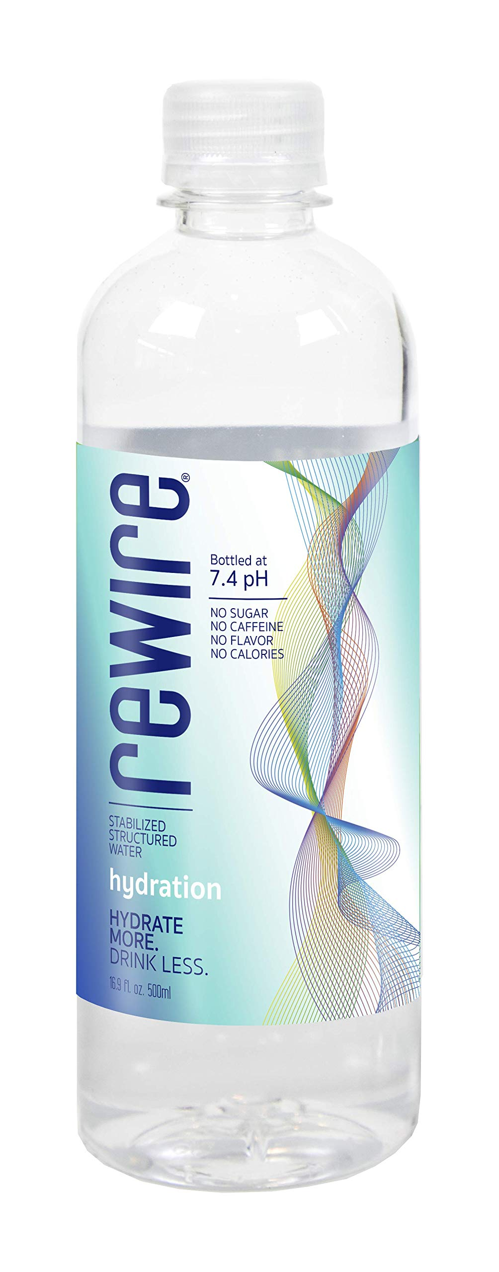 REWIRE Hydration, Stabilized Structured Bottled Water Enhanced with Trace Minerals, bottled at 7.4 pH, Hydrate More. Drink Less. 16.9 Fl. Oz (Pack of 24) by REWIRE