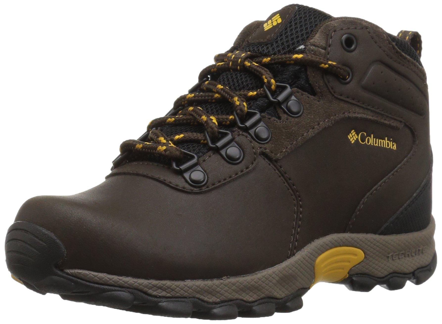 Columbia Boys' Youth Newton Ridge Hiking Shoe, Cordovan, Golden Yellow, 7 Wide US Big Kid