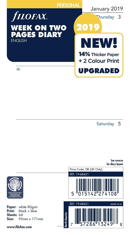 Filofax 19–68421Persönlichen Woche auf zwei Seiten Englisch 2019Diary 19-68421