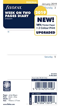 Filofax 19-68421 Personal Week On Two Pages English 2019 Diary-Best-Popular-Product