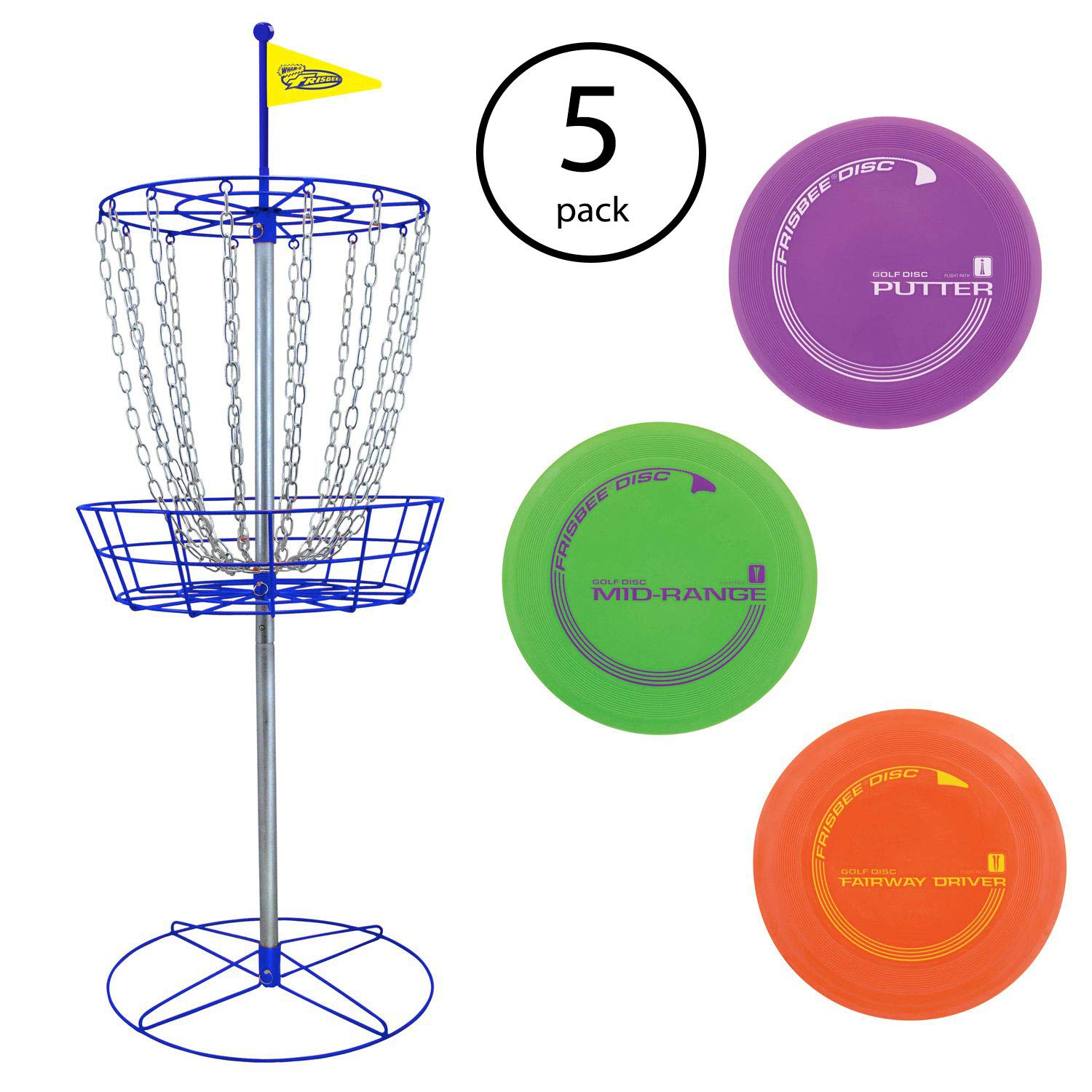 Wham-O Official Frisbee Disc Golf Set with 3 Discs and Blue Target (5 Pack)