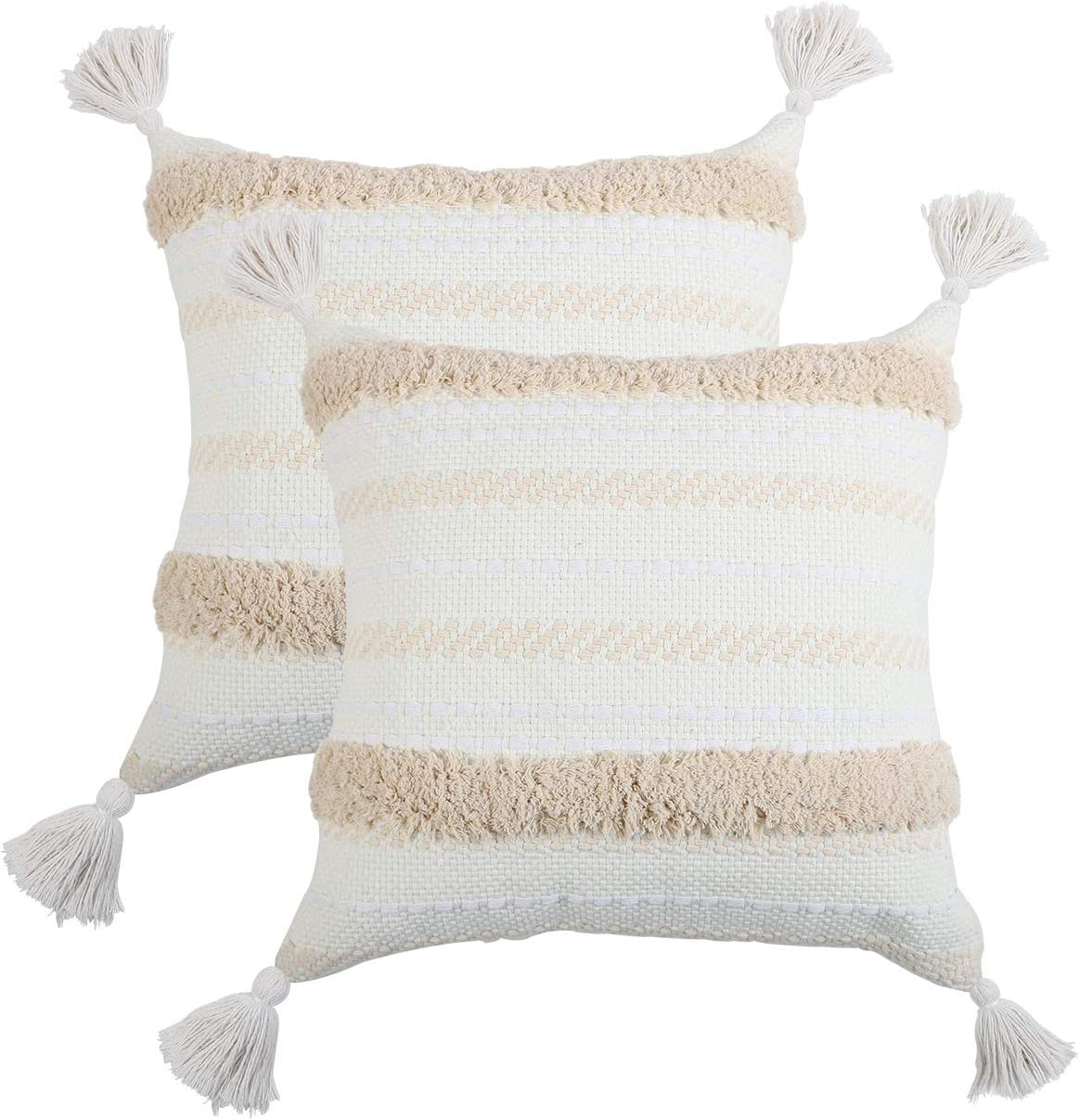 famibay Woven Tufted Boho Throw Pillow Covers Set of 2, Decorative Accent Neutral Pillow Covers Shams with Tassels Square Cotton Pillowcase Cushion Covers for Farmhouse Bedroom Living Room