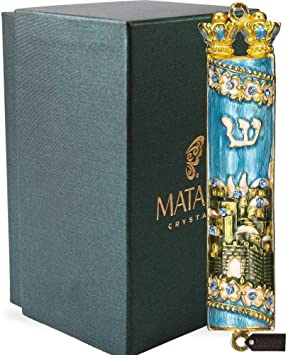 Matashi Hand Painted Enamel Mezuzah Embellished with a Dove and Hamsa Design with Gold Accents and Crystals