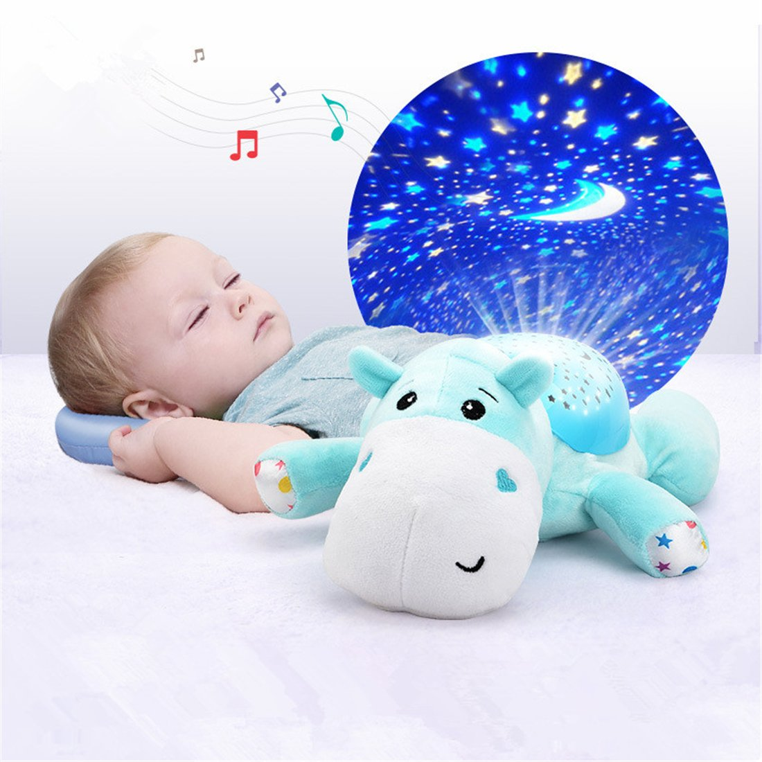 ESOCOME Baby Plush Hippo Toy Hypnotic Star and Moon Light Projector with Melodies -Animal Doll Sleep Soother Starry Night Light for Baby Infant Kids Nursery by ESOCOME (Image #2)