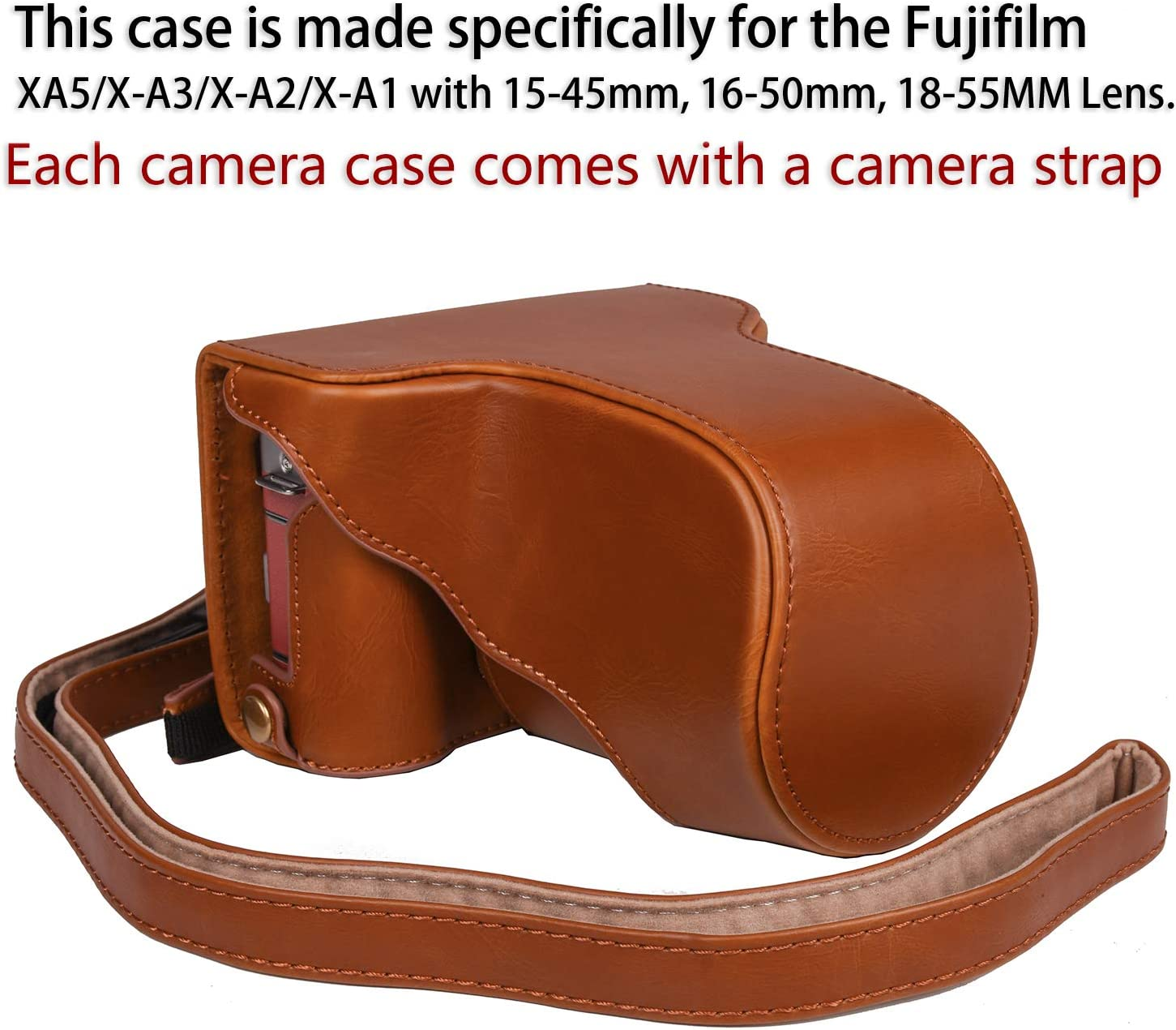 16-50mm // 18-55mm // XF 35mm Lens Color : Brown GuiPing Full Body Camera PU Leather Case Bag with Strap for FUJIFILM X-A3 // X-A2// X-M1 // X-A10 Durable