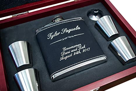 Personalized Black Leather Flask Wood Box Set Groomsmen Gift Groomsman Whiskey Gifts For Men Custom Engraved Hip Flasks Rustic Customized Gold