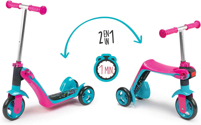 Amazon.com: Smoby - Patinete reversible 2 en 1, color rosa ...