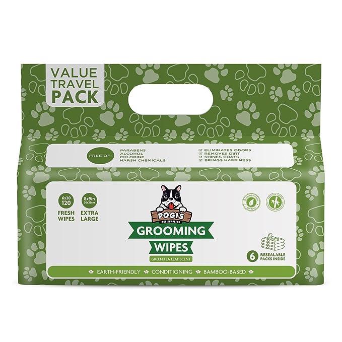 Pogis Grooming Wipes Paquete de Viaje - 120 toallitas desodorantes para Perros - Aroma de té Verde, Naturales, Extra Grandes, Biodegradable: Amazon.es: ...