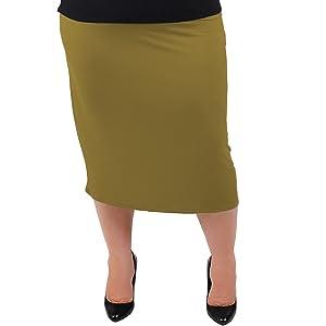 Stretch is Comfort Women's Plus Size MIDI Skirt Olive Green 2X